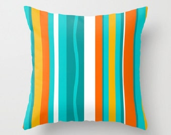 Modern Pillow Cover, Turquoise Striped Pillow Cover, MidCentury Modern Throw Pillow Cover, Cool Pillow Cover, Decorative Pillow Cover