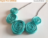 BLACK FRIDAY SALE Tiffany Blue Rosette Necklace | Aqua Statement Necklace