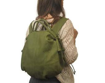 Handmade leather backpack - Katerina in green nubuck, MADE TO ORDER