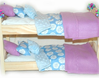 Double Doll Bunk Bed OOAK  - Beachy Sand Dollars! American Made Girl Doll Bunk Bed - Fits 18 inch dolls and AG dolls