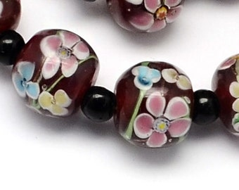 NEW Pink Flower Handmade Lampwork Floral Beads in 15 MM (5) (LBBF310)