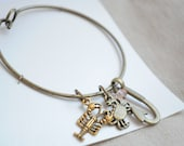 Bangle Charm Bracelet. Stack bracelet, Charm Bracelet, Lobster charm, crab charm, bronze stacking bracelet, fish hook charm