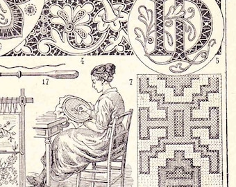 Antique French Print Embroidery Cross-stitch Sewing Book Page 1910s Engraved iIlustration
