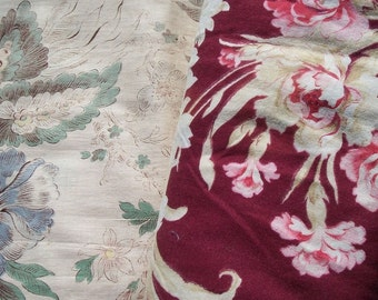 Bundle Vintage French Country Manor House Fabric 1940 s Floral material