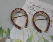 2 Matching Vintage Horseshoe Rhinestone Brooches for Good Luck
