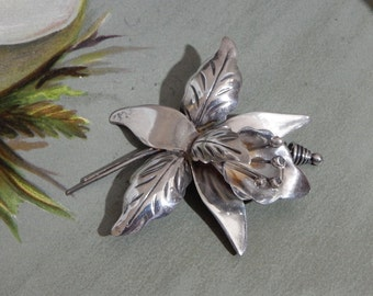 Taxco Sterling Silver Orchid Flower Brooch
