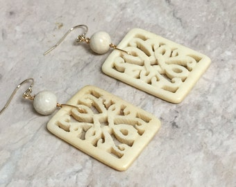 Bone Square Knot Earrings