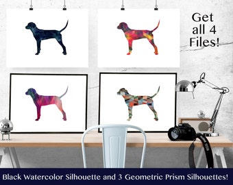 Redbone Coonhound - Hound Dog - Geometric Pattern Silhouette from Breed Collection - Digital Download Printable - Frameable 8x10