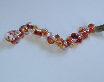 10, 20 or 25, Metallic-FIRE EMBER, (#22013)(ub45) Unicorn Beads, Teardrop Beads, orange, yellow, Boro Glass Beads, Lampwork,Handmade Beads