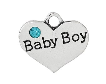 "1pc. Antique Silver ""Baby Boy"" charm with rhinestone - 16mm X 14mm"