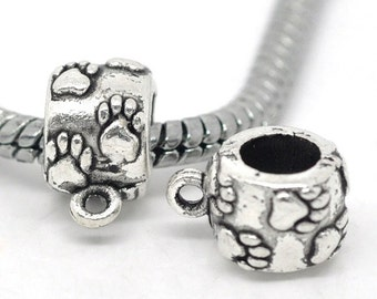 50pcs. Antique Silver Dangle Spacer Bails Puppy Dog Bear Bear's Paws Paw fit European Cords - 9mm x 11mm