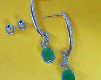 Emerald Earrings - Natural Emerald, Argentium Silver, & Sterling Silver Drop Earrings - Dangle Earrings