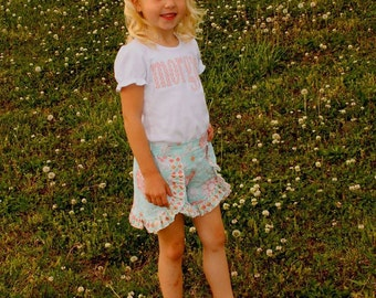 Girls Monogram Shirt - Girls Shirt - Personalized Shirt - Girls Shorts - Girls Ruffle Shorts  - Girls Outfit - Sibling Sets - Girls Clothing
