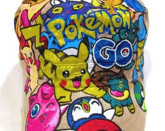Pokemon Fan Art Handpainted Adult Adjustable Beige Cap One of a Kind