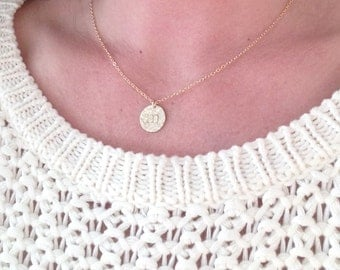 Gold initial necklace, mothers necklace, gold coin, celebrity style, initial necklace, wedding, bridesmaid