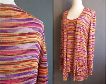 1980s Missoni orange label sweater set scoopneck pullover tunic and cardigan, large XL spacedye made in italy gold lurex rainbow 80s Missoni