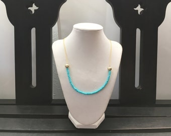SALE Turquoise blue glass beads with gold accent necklace on gold plated chain | FREE gift wrapping