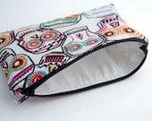 Reusable Snack Bag Zipper, Sugar Skull Bag, Lunch Bag, Handmade, Zookaboo, Ready to Ship