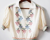 RESERVED -1930's embroidered peasant blouse / vintage silk peasant blouse