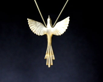 Phoenix bird necklace easter jewelry exotic bird, Greek mythology, necklace sterling silver pendant, open wings hand carved