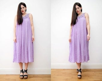 Vintage Indian Gauze Cotton Cheesecloth Boho Floral Grecian  Smock Navajo Hippie Maxi Dress