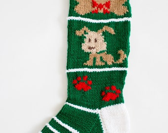 Knit Puppy Christmas Stocking for Pet Dog - Personalized