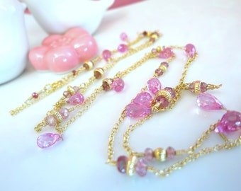 Valentines Day Pink Corundrum Quartz Opera Length Gold Filled Necklace - Hot Pink Quartz Stone Bridal Necklace - Magenta pink Valentines Day