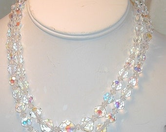 Vintage Aurora Crystal Necklace  2 Strand