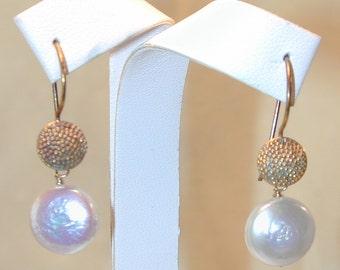 Vintage Gold over Sterling Freshwater Pearl Earrings