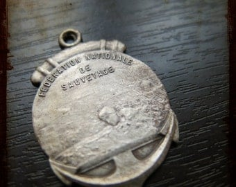 Antique French Silver Life Saving Federation Swimming Medal - Award pendant decoration ornament Lifeguard association from France