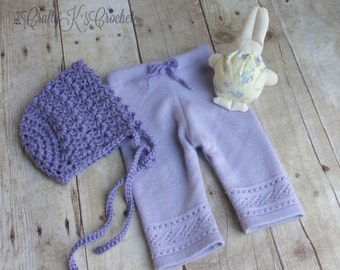 Newborn Baby Girl Upcycled Pants and Bonnet Set Newborn Easter Props - Purple Lavender- READY TO SHIP