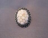 Vintage Sterling Pink Coral Oval Pendant