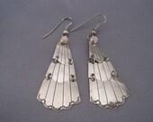RESERVED 4 BRENDA:  Vintage Sterling MOP Segmented Fan Shape Earrings