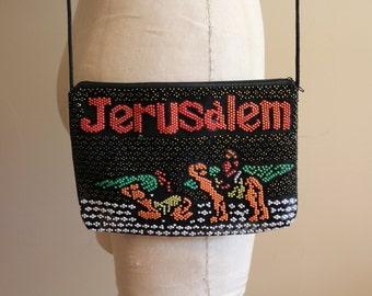 Vintage Jerusalem Beaded Souvenir Crossbody Bag - Israel