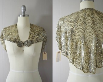 Vintage Late 1920s / early 1930s Art Deco Sequined Capelet | 1930 Sequined Cover-up | Vintage Bridal Accessories | Vintage Wedding