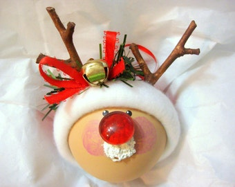 RUDOLPH CHRISTMAS Ornaments Sleigh Bell Hand Painted Handmade Personalized Themed by Townsend Custom Gifts - BR