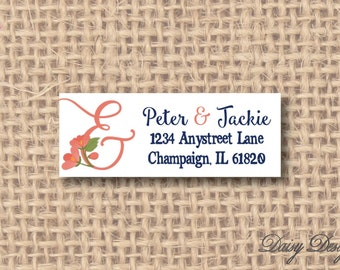 Return Address Labels with Ampersand and Flowers - Bride & Groom - 120 self-sticking labels