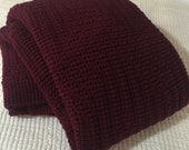 Afghan/Throw, Knitted, Burgundy