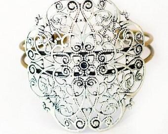 DAPHNE filigree cuff bracelet adjustable handpainted antique bronze SUPER pretty and comfy - stackable