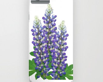 Floral phone case | Blue and white lupine flowers, garden photo, iphone, ipod, galaxy s7, s6 s5 s4, nature photograph, color photography