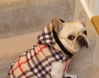 French Bulldog  Frenchie Tan  Plaid Fleece Hoodie