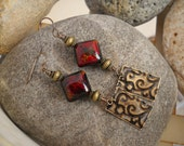 Boho Style Vintaj Patina Etched Antique Brass Red Black and Dark Gold Acrylic Beaded Earrings