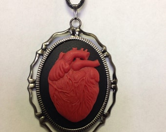 Anatomical Heart Cameo necklace // Anatomical Heart // Red Heart Necklace