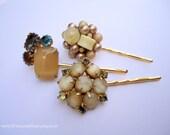Vintage earrings hair pin - Beige tan cream moonstone satin cluster pearl beaded bauble jeweled unique embellish decorative hair accessories