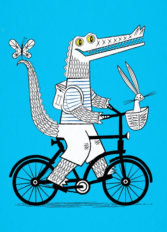 The Crococycle - Crocodile / Bicycle - Animal Art Poster - Children's Art - Limited Edition Print - iOTA iLLUSTRATiON