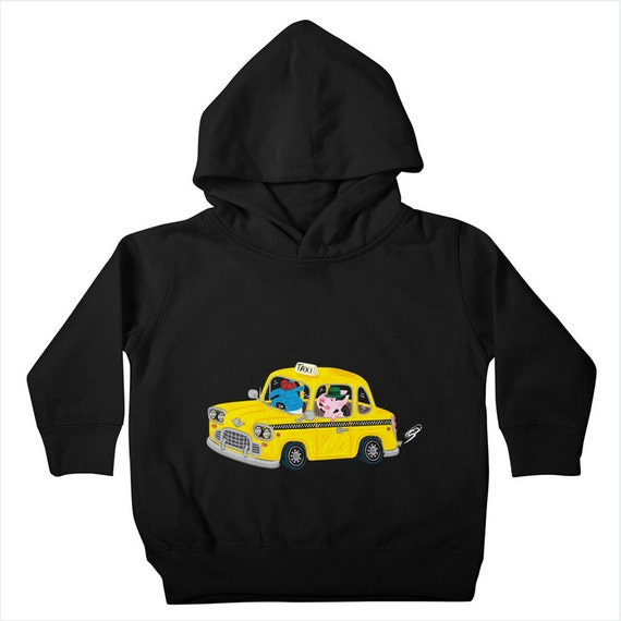 TAXi RiDE- Childrens - Unisex - Toddler Pullover Hoody / Hoodie - Black / Heather Royal Blue / Midnight by Oliver Lake - iOTA iLLUSTRATION