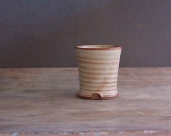 Handmade Stoneware Drinking Glass Drinkware Toothbrush Vase in Cream and Cinnamon