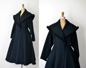 1950s Princess Coat / 50s Black Shawl Collar Boucle Wool Coat