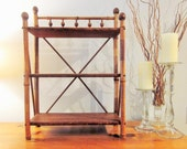English Bamboo and Wood 3 Tier Shelf, Vintage, Antique