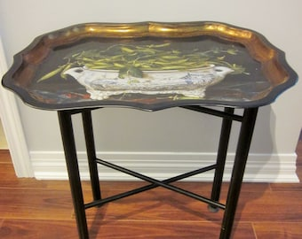 Vintage Tray Table, Black Tole Tray and Stand, Tray Made In England, Folding Stand